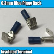 Blue Piggy Back Insulated Electrical 6.3mm Crimp Terminals Cable Wire